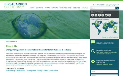 Screenshot of About Page firstcarbonsolutions.com - Energy Management & Sustainability Consultants for Business & Industry - captured Sept. 25, 2018