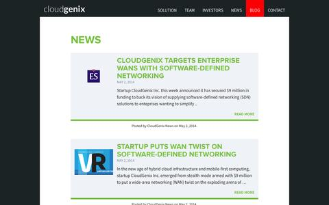 Screenshot of Press Page cloudgenix.com - News | CloudGenix - captured Oct. 22, 2014