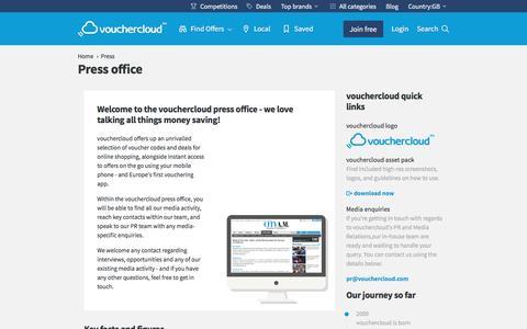 Screenshot of Press Page vouchercloud.com - Press and Media Relations at vouchercloud - captured Aug. 21, 2016