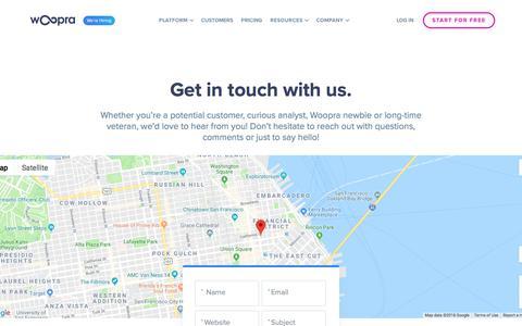 Screenshot of Contact Page woopra.com - (1) New Message! - captured Sept. 21, 2018