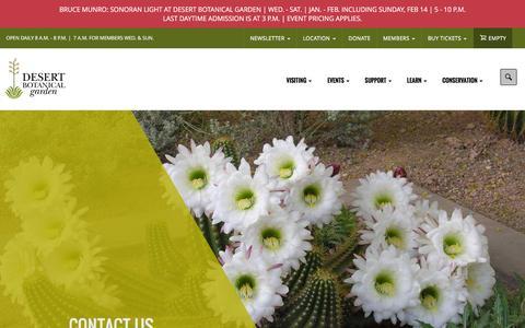 Screenshot of Contact Page dbg.org - Contact Us | Desert Botanical Garden - captured Feb. 7, 2016