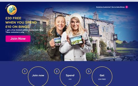 Screenshot of Home Page galabingo.com - Gala Bingo: Play Online Bingo | £35 UK Welcome Bonus - Gala Bingo - captured Sept. 15, 2016