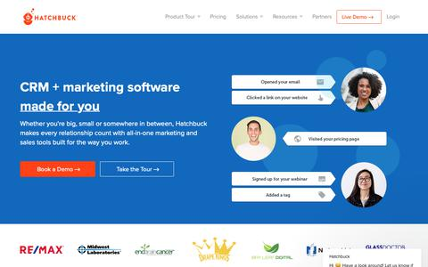 Screenshot of Home Page hatchbuck.com - Hatchbuck says… - captured Oct. 10, 2018