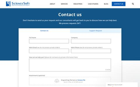 Screenshot of Contact Page scnsoft.com - Stacy says… - captured July 12, 2019