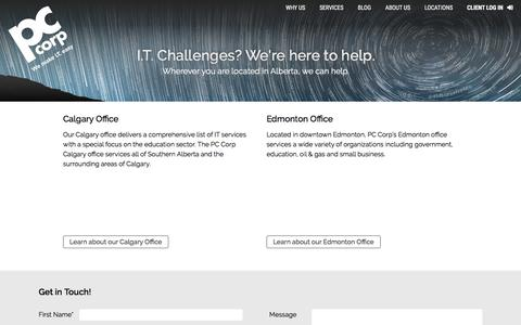 Screenshot of Locations Page pccorp.com - Locations - PC Corp   IT Consulting IT Procurement IT Managed Services   Edmonton & Calgary Alberta - captured July 14, 2018