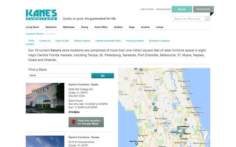 Screenshot of Locations Page kanesfurniture.com - Kane's Furniture Kane Furniture Locations - captured Aug. 8, 2016