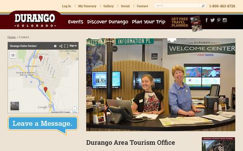 Screenshot of Contact Page durango.org - Contact | Durango - captured Nov. 3, 2014