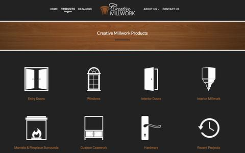 Screenshot of Products Page creativemillworkllc.com - Custom Woodworking by Creative Millwork LLC. - captured Feb. 1, 2016