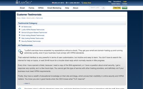 Screenshot of Testimonials Page luxsci.com - LuxSci: Customer Testimonials - captured Oct. 27, 2014