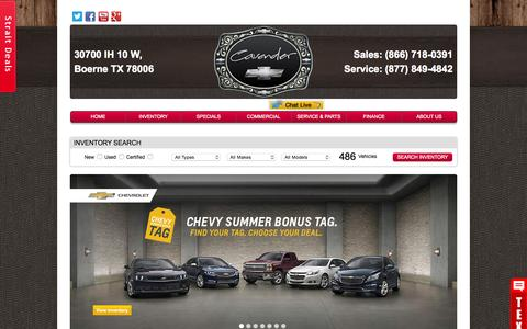 Screenshot of Home Page cavenderchevrolet.com - New, used, and pre-owned Chevrolet, cars, trucks, and SUVs for sale at Cavender Chevrolet in Boerne - captured July 19, 2015