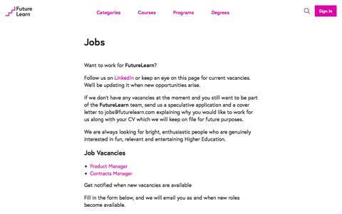 Screenshot of Jobs Page futurelearn.com - Jobs - FutureLearn - captured June 20, 2017