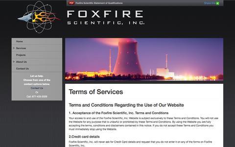 Screenshot of Terms Page foxfirescientific.com - Terms of Services | Foxfire Scientific - captured Oct. 6, 2014