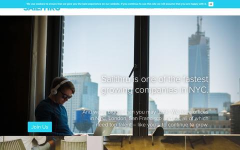 Screenshot of Jobs Page sailthru.com - Careers at Sailthru | Home - captured Oct. 28, 2014
