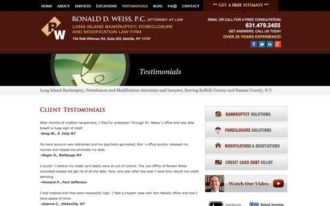 Screenshot of Testimonials Page ny-bankruptcy.com - Testimonials     Long Island, Nassau and Suffolk County Bankruptcy and Foreclosure Attorney   NY-Bankruptcy.com   Ronald D. Weiss, PC - captured April 24, 2018