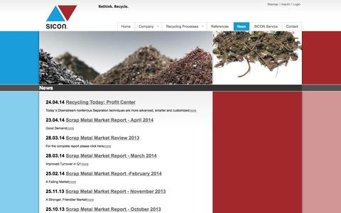 Screenshot of Press Page sicon-america.com - News - Rethink. Recycle. - Sicon GmbH - captured Oct. 3, 2014