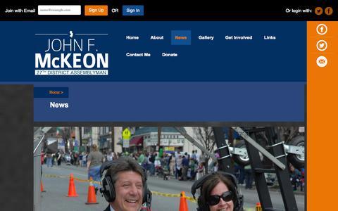 Screenshot of Press Page johnfmckeon.com - News - John F. McKeon - captured Oct. 4, 2014