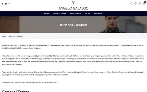 Screenshot of Privacy Page FAQ Page Terms Page angelogalasso.com - Terms And Conditions - captured Nov. 6, 2018
