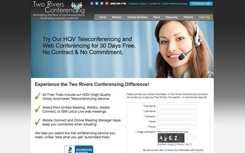 Screenshot of Trial Page trconf.com - Conferencing Free Trial - Two Rivers Conferencing - captured Oct. 6, 2014