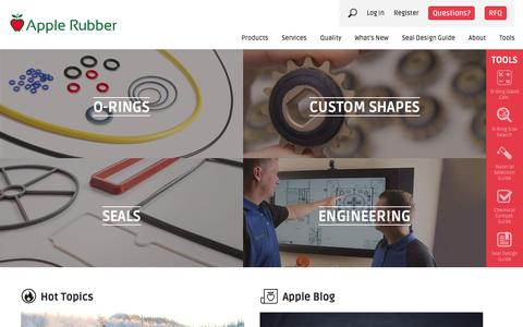 Screenshot of Home Page applerubber.com - Rubber Seals, Sealing Devices & O-Ring Seal Design | Apple Rubber Products - captured Dec. 25, 2015