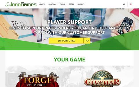 Screenshot of Support Page innogames.com - InnoGames | player support - captured Aug. 5, 2016