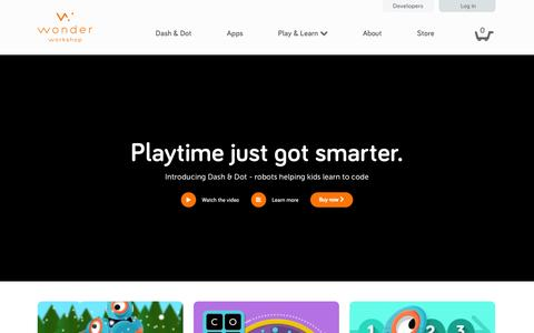 Screenshot of Home Page makewonder.com - Wonder Workshop | Home of Dash and Dot, robots that help kids learn to code - captured Dec. 13, 2014