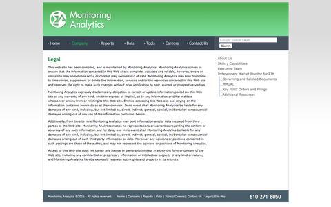 Screenshot of Terms Page monitoringanalytics.com - Monitoring Analytics - Legal - captured Aug. 13, 2016