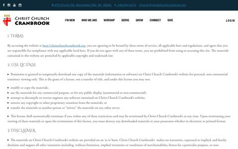 Screenshot of Terms Page christchurchcranbrook.org - Terms & Conditions - Christ Church Cranbrook   Episcopal Church in Michigan - captured July 17, 2018