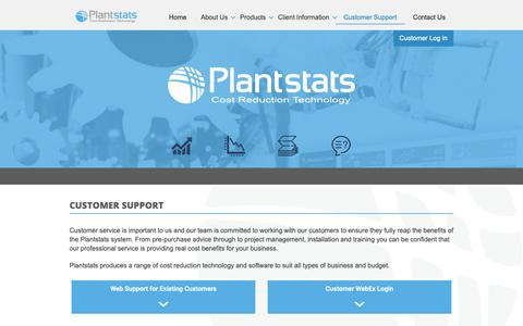 Screenshot of Support Page plantstats.co.uk - Customer Support for Plantstat customers - captured Sept. 28, 2018