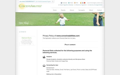 Screenshot of Privacy Page conceiveabilities.com - Surrogacy & Egg Donor Agency: ConceiveAbilities Egg Donation, Surrogate Mother Database - captured Sept. 30, 2014