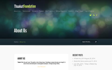 Screenshot of About Page thaakat.org - About Us | Thaakat Foundation - captured Oct. 7, 2014