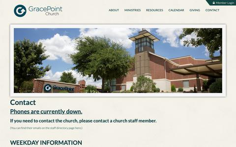 Screenshot of Contact Page gracepointcoppell.org - GracePoint Coppell: Contact - captured Oct. 10, 2018