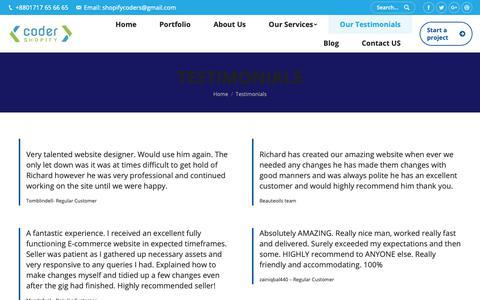 Screenshot of Testimonials Page shopifycoder.com - Testimonials – Shopify Expert - captured April 20, 2019