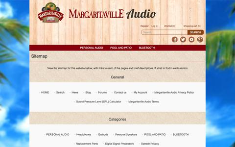Screenshot of Site Map Page margaritavilleaudio.com - Sitemap Margaritaville Audio - captured Jan. 9, 2016