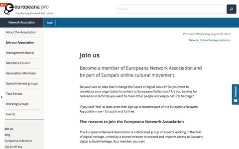 Screenshot of Signup Page europeana.eu - Join us | Europeana - captured Feb. 7, 2018