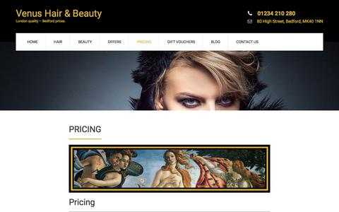 Screenshot of Pricing Page venus-hairandbeauty.co.uk - Pricing - Venus Hair & Beauty - captured Oct. 25, 2017
