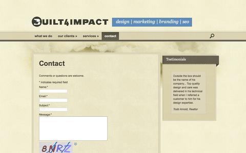 Screenshot of Contact Page built4impact.com - Contact | Built For Impact - captured Feb. 8, 2016