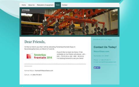 Screenshot of Press Page mazurglass.com - News - captured Oct. 17, 2017