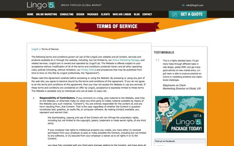 Screenshot of Terms Page lingo5.com - Terms of Service - Lingo5 - captured Sept. 24, 2014
