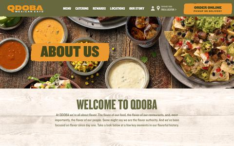 Screenshot of About Page qdoba.com - QDOBA Mexican Eats | Mexican Restaurants & Catering - captured Jan. 14, 2020