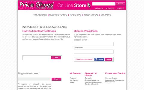 Screenshot of Login Page priceshoes.com.co - PriceShoes :: Users - captured Sept. 30, 2014
