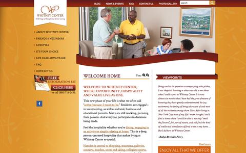 Screenshot of Home Page whitneycenter.com - Welcome Home - Whitney Center - captured Sept. 19, 2014