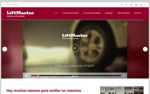 Screenshot of Home Page liftmaster.es - LiftMaster, Making life easier - captured Jan. 29, 2016