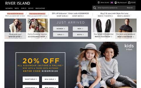 Screenshot of Home Page riverisland.com - River Island - Fashion Clothing for Women, Men, Boys and Girls - captured Oct. 28, 2015