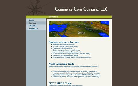 Screenshot of Services Page cccllc.net - Commerce Core Company, LLC - Services - captured Oct. 2, 2014