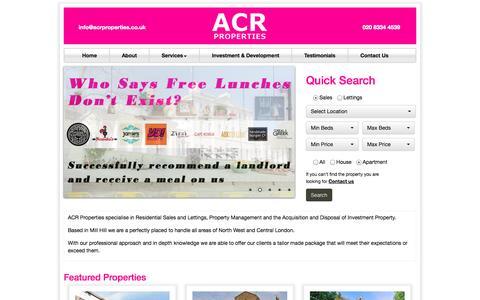 Screenshot of Home Page acrproperties.co.uk - ACR Properties   ACR Properties - captured Oct. 4, 2014