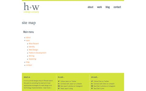 Screenshot of Site Map Page hwdesignco.com - site map | h+w design - captured Oct. 3, 2014