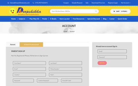 Screenshot of Login Page deepshikhabooks.com - Specialist in Play Group Books|Pre Nursery Books|Nursery Books|Kindergarten Books|Deepshikha's Books - captured Oct. 8, 2018