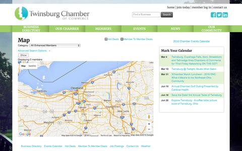 Screenshot of Maps & Directions Page twinsburgchamber.com - Map - Twinsburg Chamber of Commerce, OH - captured Feb. 28, 2016