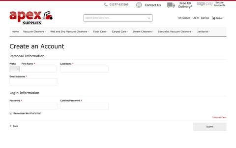 Screenshot of Signup Page apexsupplies.co.uk - Create New Customer Account - captured Feb. 6, 2016