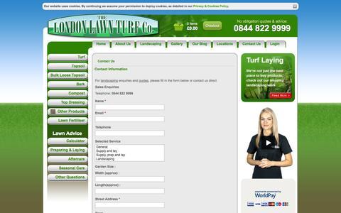 Screenshot of Contact Page londonlawnturf.co.uk captured Sept. 30, 2014